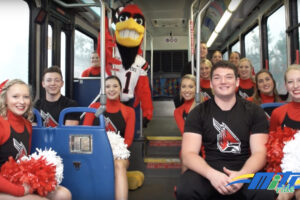 Ball State Cheer Team on MITS bus