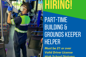 MITS Now Hiring part-time building and groundskeeper helper graphic