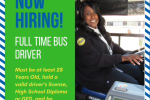 MITS Now Hiring Full Time Bus Driver graphic with local bus driver picture
