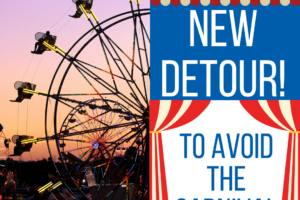 Carnival rides at sunset to represent the new MITS Route 4 detour.