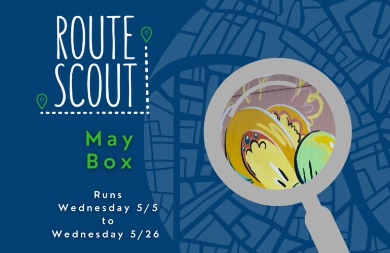 May Route Scout box with a butterfly