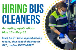 MITS bus cleaner with news that its is hiring bus cleaners